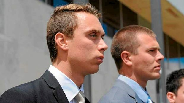 ADFA Skype case at the ACT Supreme Court. The two convicted cadets. At left is Dylan Deblaquiere and at right is Daniel ...