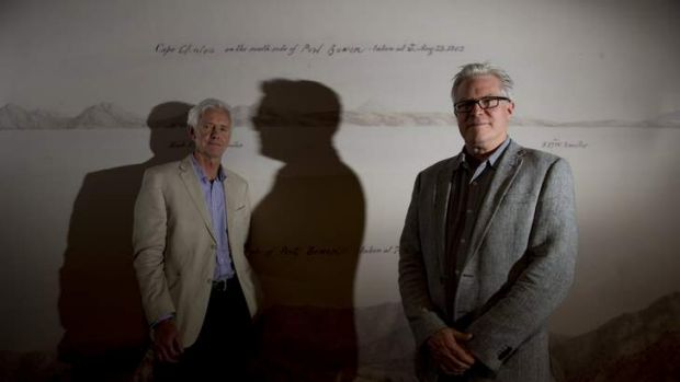 Curator of Maps Dr Martin Woods and The James and Bettison Treasures Curator Nat Williams at the hanging of the Maps ...