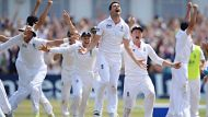 NOTTINGHAM, ENGLAND - JULY 14:  James Anderson of England celebrates the final wicket of Brad Haddin of Australia and ...