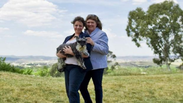 Michelle Stockwell and Annabel Scholes with their dog Beau.