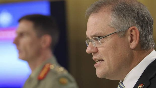 Minister for Immigration Scott Morrison, with Operation Sovereign Borders Commander, Lieutenant General Angus Campbell.