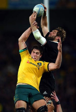 Rob Simmons jumps against Sam Whitelock during the Rugby Championship.