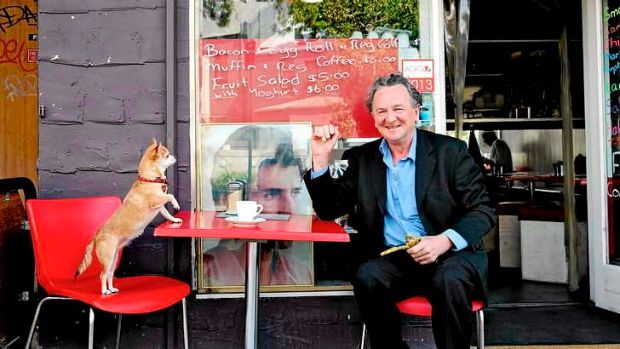 Satirical engagement: Louis Nowra, winner of the Patrick White Literary Award, having coffee in Kings Cross with his ...