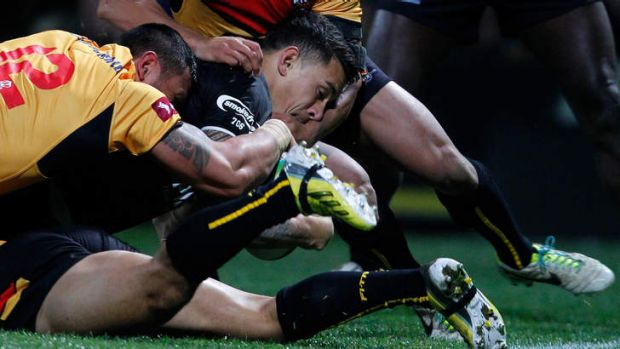 First of three: Sonny Bill Williams figured large for the Kiwis.