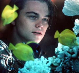 On film: Leonardo DiCaprio in <em>Romeo + Juliet</em>.