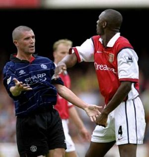 Clash of a bygone era: Captains Patrick Vieira and Roy Keane in their 1999 tustle.