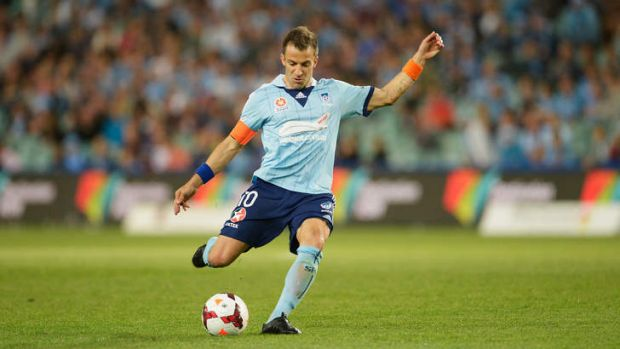 In the groove: Alessandro Del Piero of Sydney FC takes a penalty kick against Melbourne Victory.