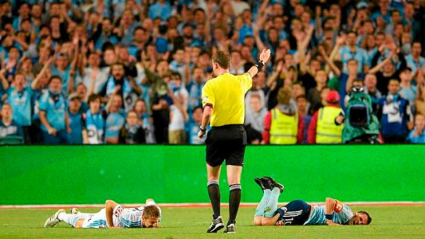 Sydney FC skipper  Alessandro Del Piero is fouled against Melbourne Victory.