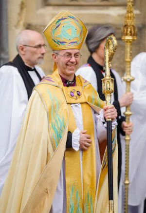 The Most Reverend Justin Welby after his enthronement as Archbishop of Canterbury.