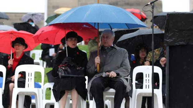 Canberra drenched... Former Prime Minister Paul Keating at the Remembrance Day Ceremony.