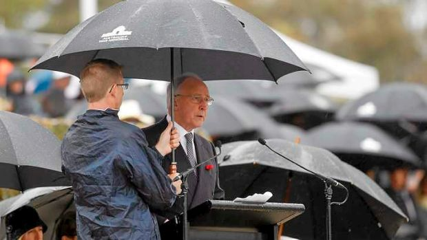 Paul Keating addresses the Remembrance Day commemoration at the Australian War Memorial.