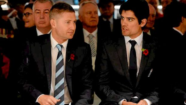 Australia captain Michael Clarke and England captain Alastair Cook attend a Remembrance Day service in Martin Place in ...