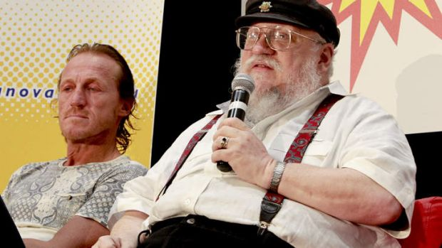 <i>Game of Thrones</i>' author George R.R. Martin speaking in Brisbane, with actor Jerome Flynn, who plays Bronn.