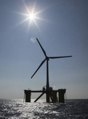 Switched on ... The first of many floating wind turbines, seen 20 kilometres off the coast of Naraha, Fukushima ...