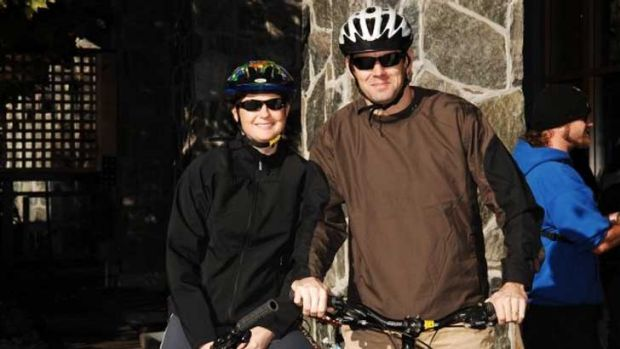 Matthew Fitzgerald, right, suffered serious head injuries when he fell from his bicycle.