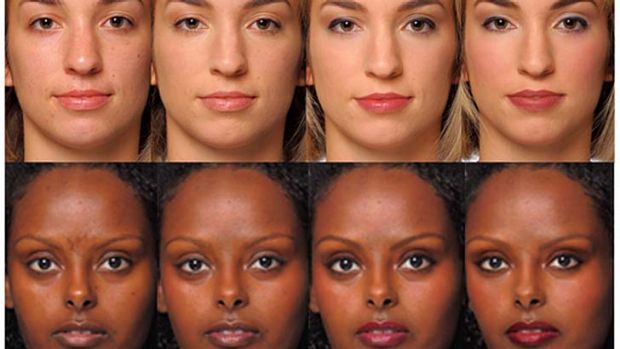 Make-up your mind: Natural, professional and glamourous 'looks' from the Harvard study.