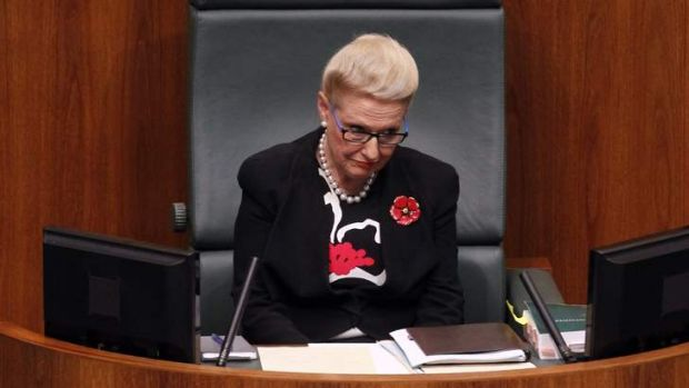 Madam Speaker Bishop on her first day on the job.