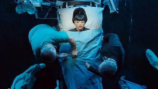 Lily Allen in her new provocative video <i>Hard Out Here</i>.