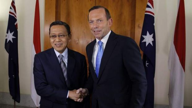 Policy changes: Prime Minister Tony Abbott greets Indonesian Vice President Dr Boediono in Canberra to discuss increased ...