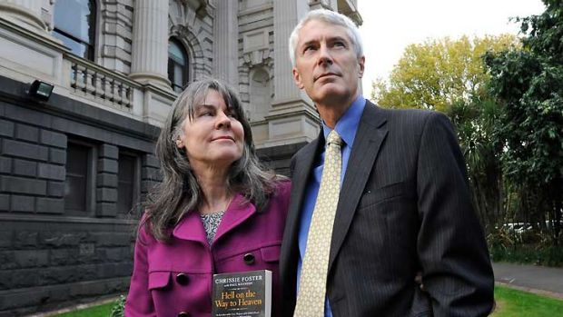 Chrissie and Anthony Foster outside State Parliament earlier this year.
