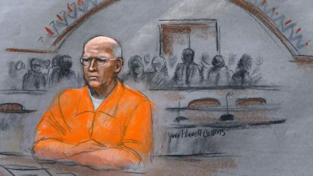 "In this courtroom sketch, James ""Whitey"" Bulger sits at his sentencing hearing in federal court in Boston."