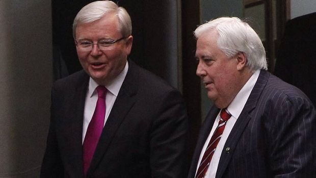 Kevin Rudd and Clive Palmer arrive for the opening of Parliament.