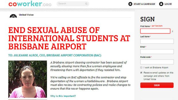 The online petition against sexual abuse at Brisbane Airport, featuring a photograph of the petitioner.