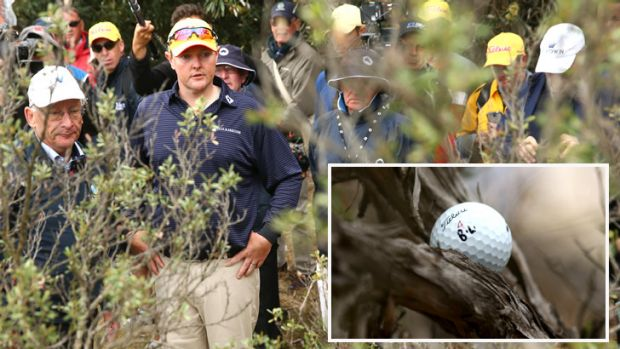 Lyle came unstuck on the ninth hole with his ball being wedged in a tree.