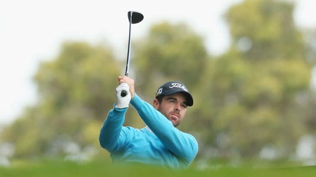 Nick Cullen tees off on the 12th during the second round at Royal Melbourne.
