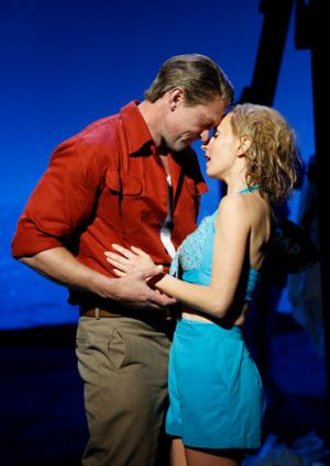 Teddy Tahu Rhodes as Emile de Becque and Lisa McCune as Nellie Forbush in Opera Australia's South Pacific.