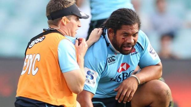 Kamikaze: Tatafu Polota-Nau takes a breather after getting knocked out during the Waratahs' game against the Western ...