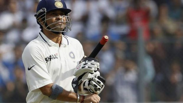 India's Sachin Tendulkar made 74 in the first innings of his farewell Test in Mumbai.