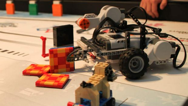 Lego robots act out a disaster recovery situation.
