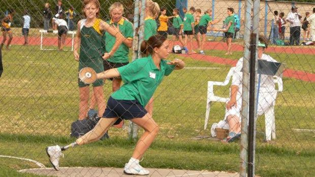 A younger Joany Badenhorst competes in athletics.
