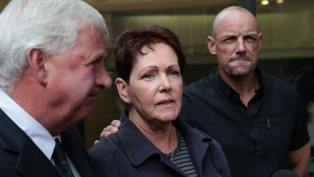Disappointed: Melissa Ryan's parents Phil and Liz O'Donnell and fiance Wayne Belford outside the court.