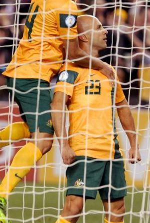 In hot water: Australia's Mark Bresciano could miss the 2014 World Cup in Brazil.