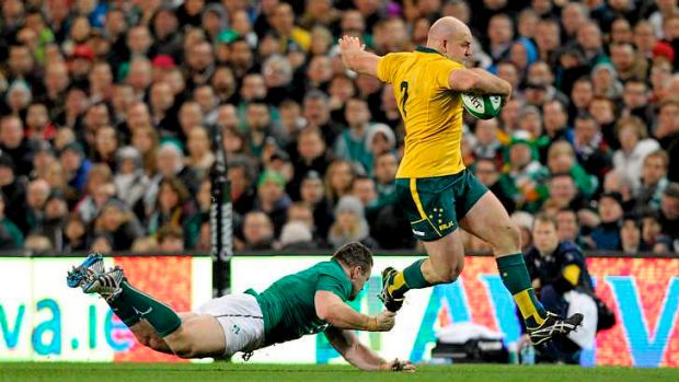 Stephen Moore made the break that set up the first Wallabies try to Nick Cummins.