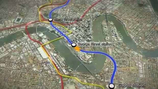 A screengrab from the fly-through of the new Brisbane Underground Bus and Train (UBAT), announced by the state ...