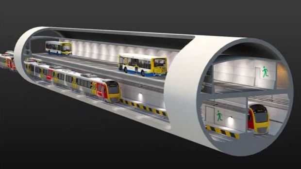 The planned Brisbane Underground bus and train tunnel will feature a double decker design with trains on the bottom and ...