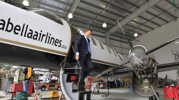 Tony Abbott visits Brindabella Airlines in Canberra earlier this year.