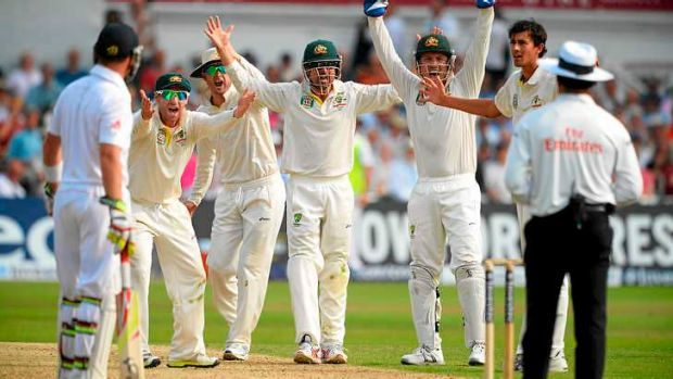 Australia unsuccessfully appeal for the wicket of Stuart Broad at Trent Bridge in July.