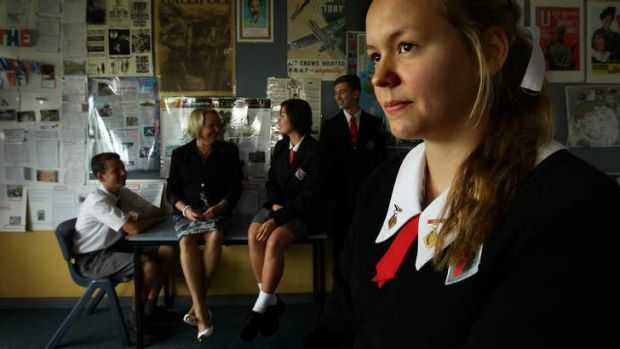 Cherrybrook Technical High School student Merle Runde, 15, with (left to right) Jed Corbett, 16,  deputy principal Jenny ...