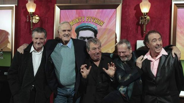 Planning a reunion ... The remaining original cast of the Monty Python troupe - from left,  Michael Palin, John Cleese, ...
