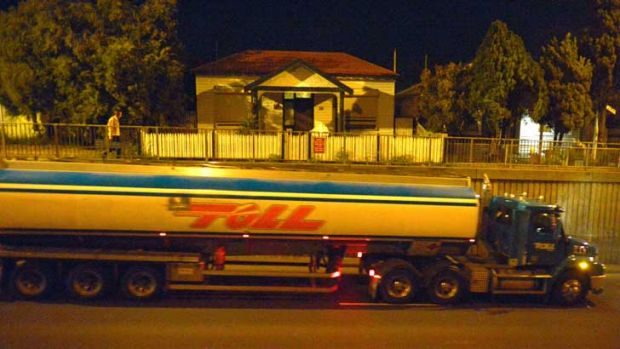 A truck tears past a house in Francis Street Yarraville - notorious for heavy-vehicle traffic.