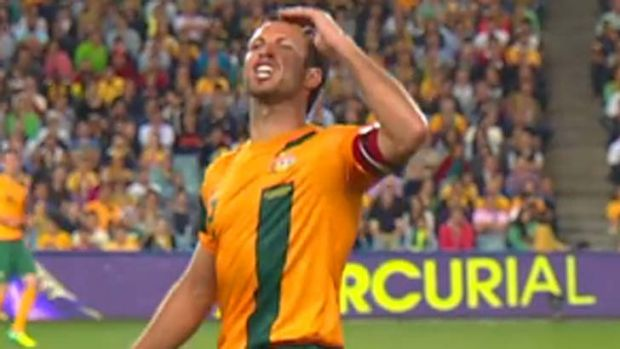 Lucas Neill reacts to booing from the Sydney crowd.