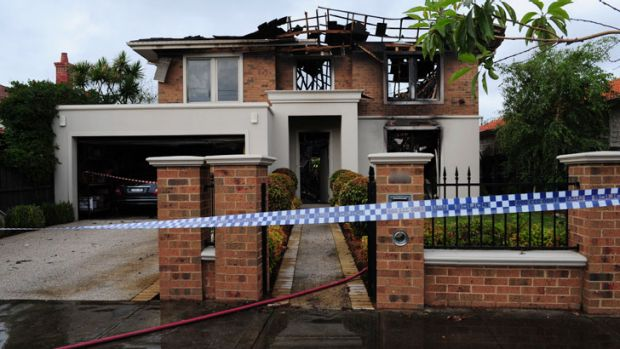 Severely damaged ... The fire ripped through the Sycamore Street home in Caulfield South.