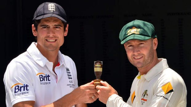English captain Alastair Cook and Michael Clarke with the Ashes urn.