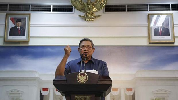 Not happy, Tony: President Susilo Bambang Yudhoyono makes a gesture during a press conference in Jakarta. Indonesia has ...