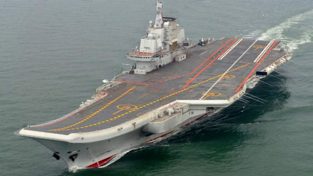 Chinese aircraft carrier Liaoning cruising for a test on the sea.