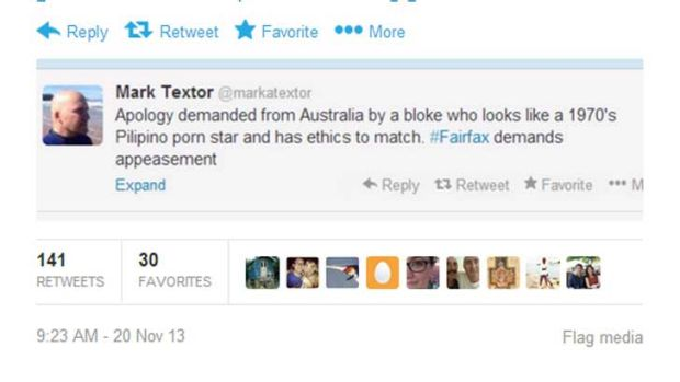 Mark Textor's tweet that has made the front page of Indonesia's main newspaper